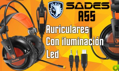 Auriculares Sades A55 Led con Jack 3,5mm y USB Unboxing y Overview