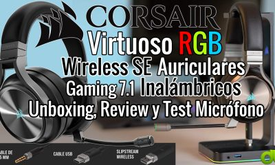 Corsair Virtuoso RGB Wireless SE Auriculares 7.1 Inalámbricos Gaming Alta Gama Unboxing Review y Test Micrófono
